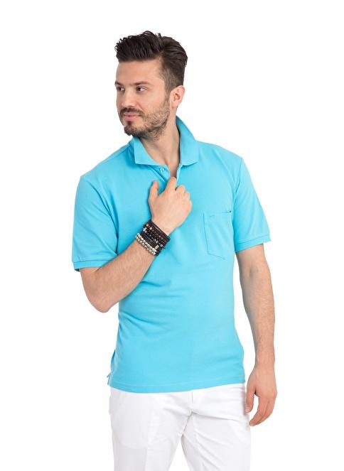Kiğılı Polo Yaka Tişört Mavi